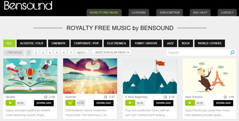 Descargar canciones gratis libre de derechos - Bensound
