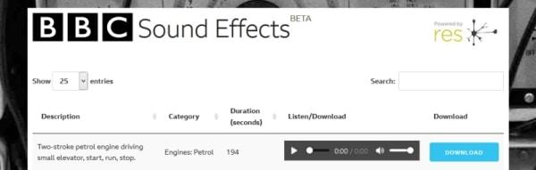 Descargar efectos audios gratis sin derechos de autor - BBC