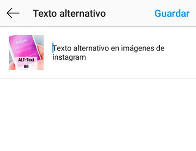 Escribimos nuestro texto alternativo - Alt text instagram