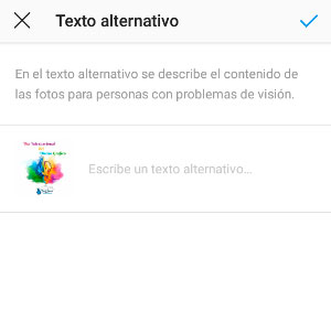 Introduce tu texto alternativo - Alt text instagram