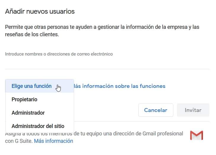 Roles permisos usuario Google Business
