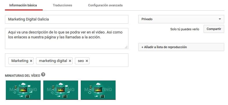 Titulo, etiquetas y descripcion video youtube seo