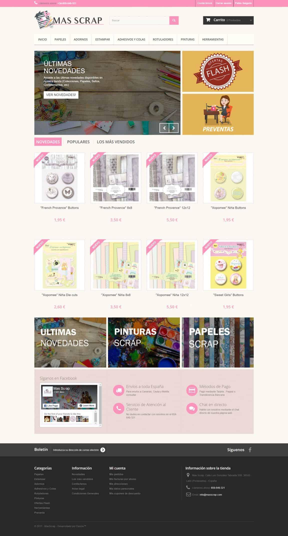 Diseño y desarrollo de tiendas online prestashop masscrap