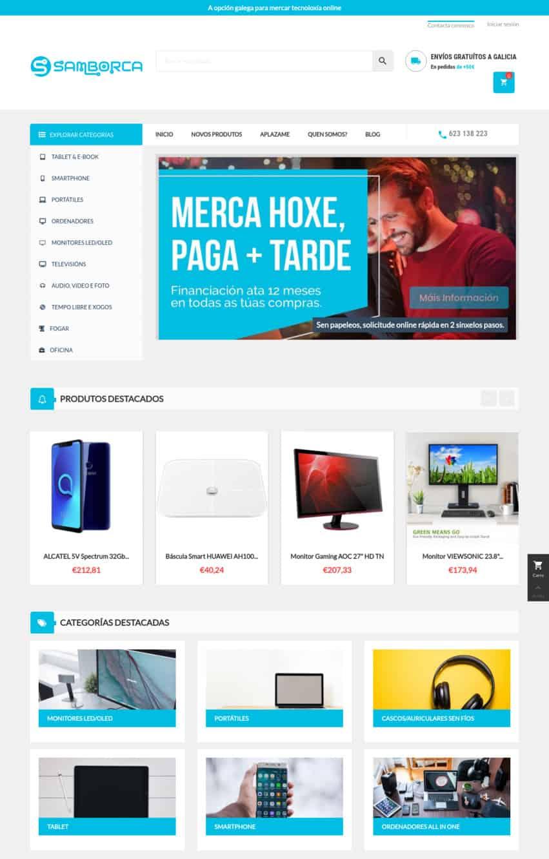 Desarrollo tienda electronica ecommerce - Snapshot Samborca.gal